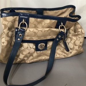 Tan Signature Coach Top Handle Purse
